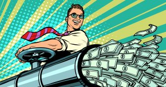 Businessman opens pipe, money Finance dollars flow. Pop art retro vector illustration kitsch vintage